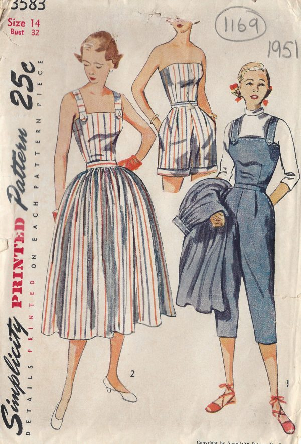 1951-Vintage-Sewing-Pattern-PLAYSUIT-PANTS-SKIRT-TOP-SHORTS-B32-1169-251458170183