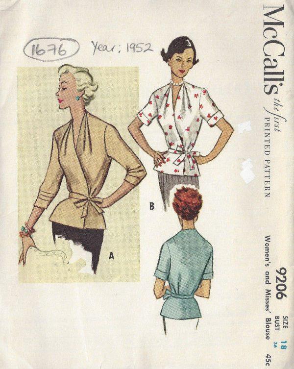 1952 Vintage Sewing Pattern BLOUSE B36\