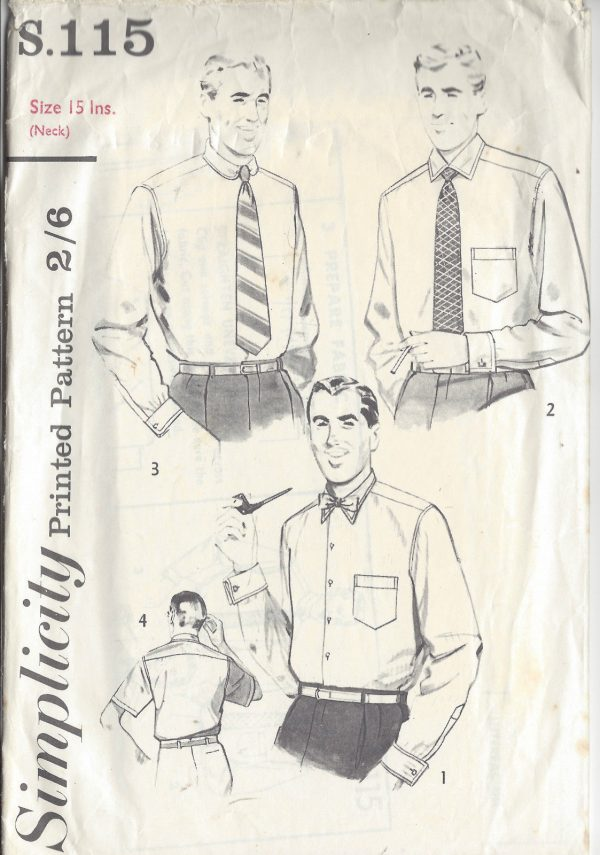 1952 Vintage Sewing Pattern NECK:15 ins CHEST:38 MEN\'S SHIRT (1099 ...