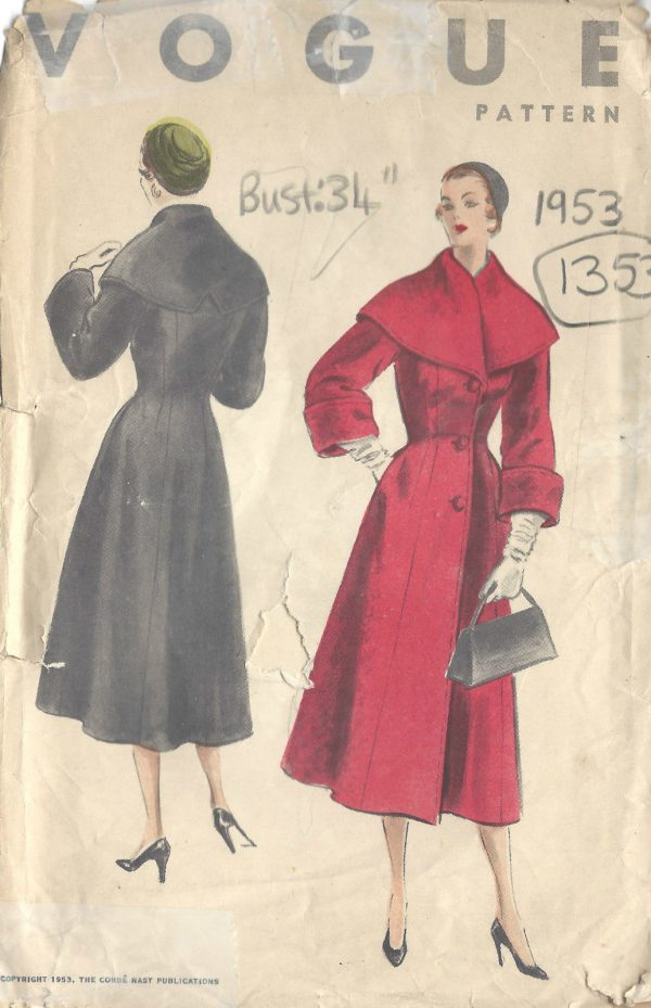 1953 Vintage Vogue Sewing Pattern B34 Coat 1353 The