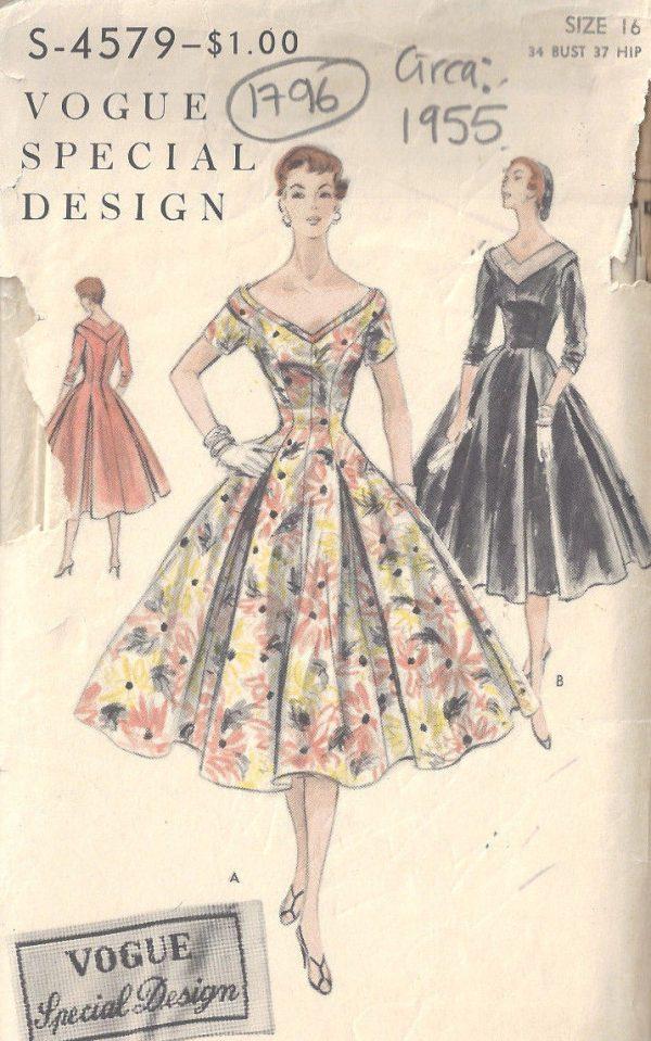 1955 Vintage Sewing Pattern B34 DRESS (1796) - The Vintage Pattern Shop