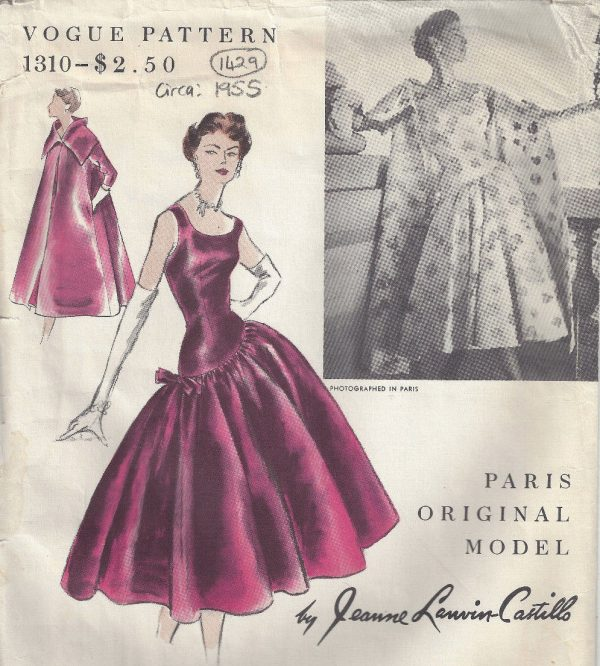 1955 Vintage Vogue Sewing Pattern B34 Dress Coat 1429r Jeanne