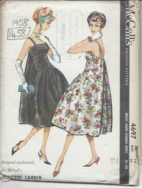 1958 Vintage Sewing Pattern B34 DRESS (1458) By PIERRE CARDIN - The ...