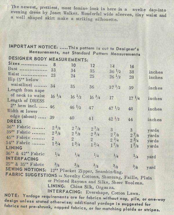 1960-Vintage-Sewing-Pattern-B38-DRESS-1464-By-Joset-Walker-SPADEA-PATTERN-252039231363-2