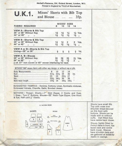 1960s Vintage Sewing Pattern B32.5\
