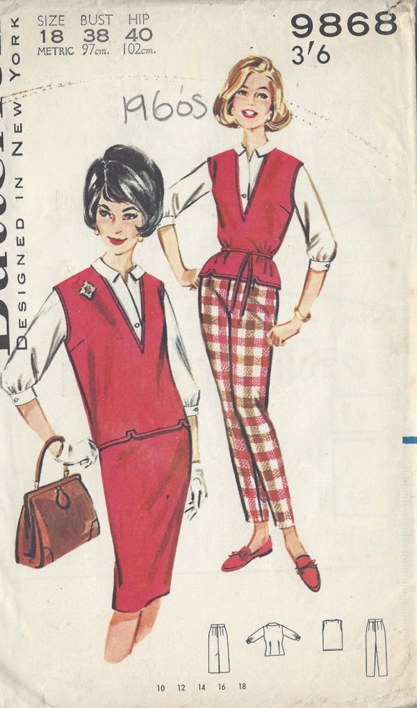 1960s-Vintage-Sewing-Pattern-B38-SKIRT-PANTS-BLOUSE-OVERBLOUSE-R692-251181600203