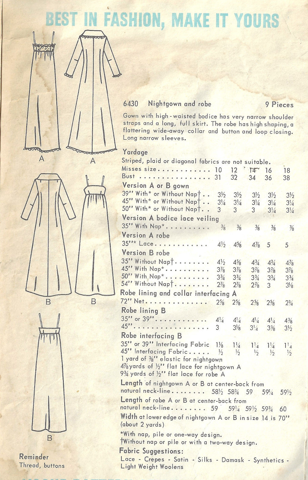 1960s Vintage Vogue Sewing Pattern B36 Nightgown Robe 1652 By Vogue 6430 The Vintage Pattern Shop