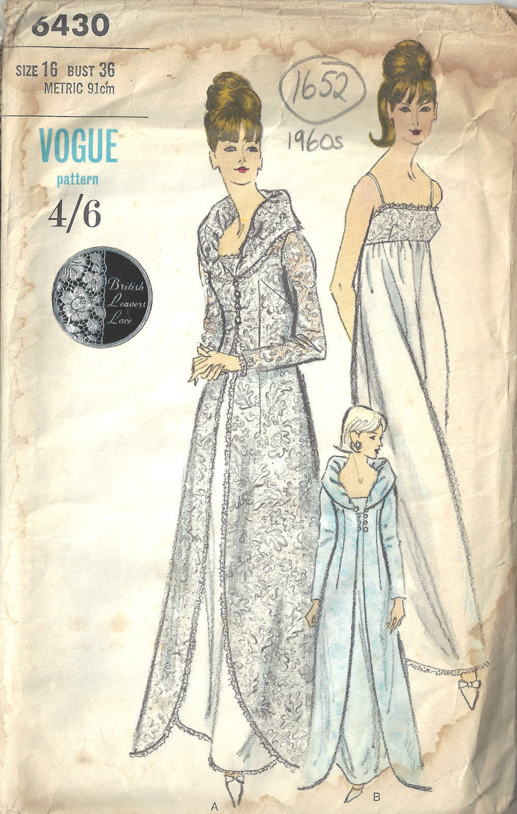1960s Vintage VOGUE Sewing Pattern B36\