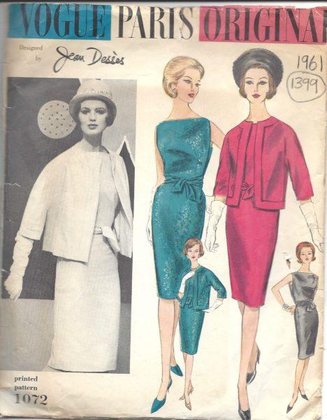 1961 Vintage VOGUE Sewing Pattern B34 DRESS & JACKET (1399) BY JEAN ...