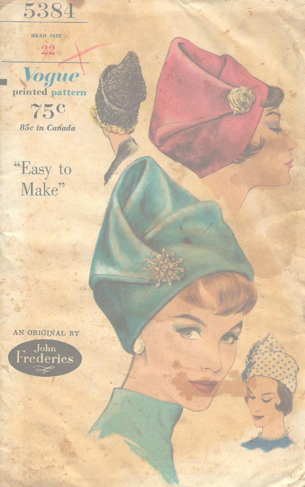 1961-Vintage-VOGUE-Sewing-Pattern-SIZE22-HAT-1104-By-John-Frederics-251333030973