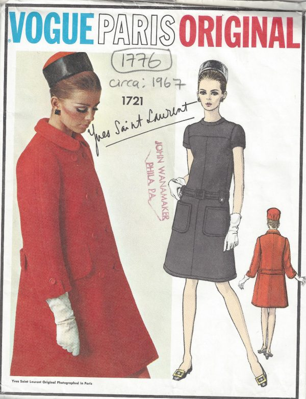 1967 Vintage VOGUE Sewing Pattern B34 COAT & DRESS (1776R) By YVES ...