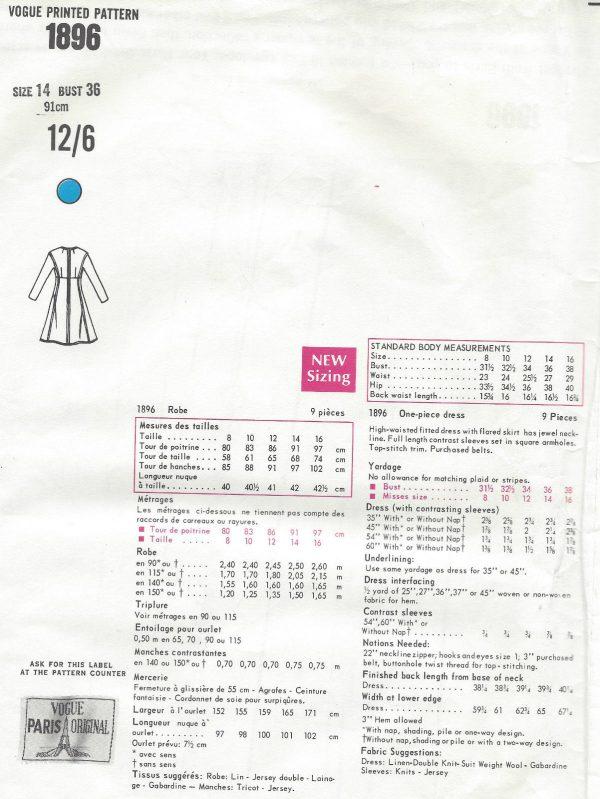 1967-Vintage-VOGUE-Sewing-Pattern-B36-DRESS-1377-By-YVES-SAINT-LAURENT-261720133853-2