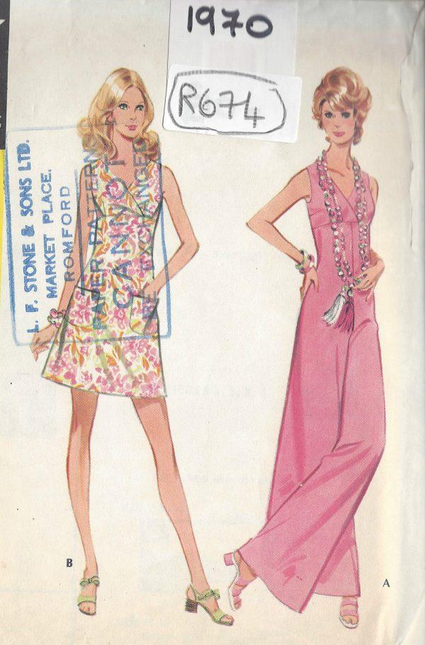 1970-Vintage-Sewing-Pattern-B34-JUMPSUIT-DRESS-R676-251181551143