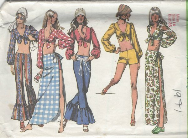 1971-Vintage-Sewing-Pattern-B36-W27-HOTPANTS-SHORTS-PANTS-SKIRT-TOP-R693-251181621673