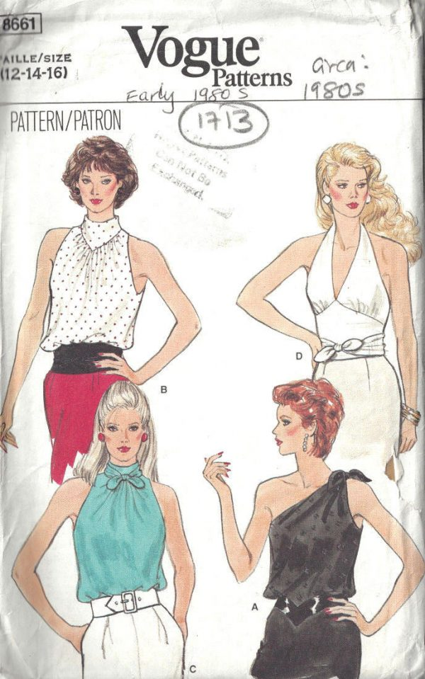 1980s-Vintage-VOGUE-Sewing-Pattern-B34-36-38-TOPS-1713-In-3-Sizes-252484424513