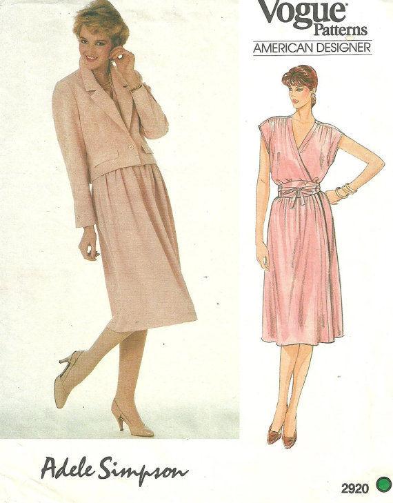 1980s-Vintage-VOGUE-Sewing-Pattern-B36-DRESS-BELT-JACKET-1708-Adele-Simpson-262559812183