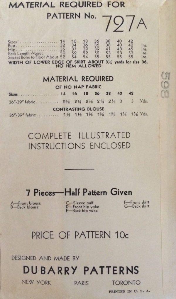 1930s-Vintage-Sewing-Pattern-B36-DRESS-1747-252521107504-2