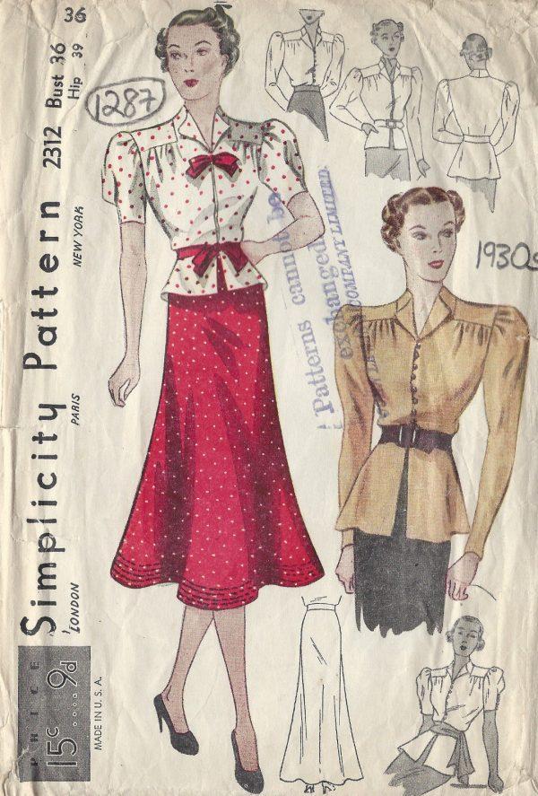 1930s-Vintage-Sewing-Pattern-B36-W30-BLOUSE-SKIRT-1287R-261510016704