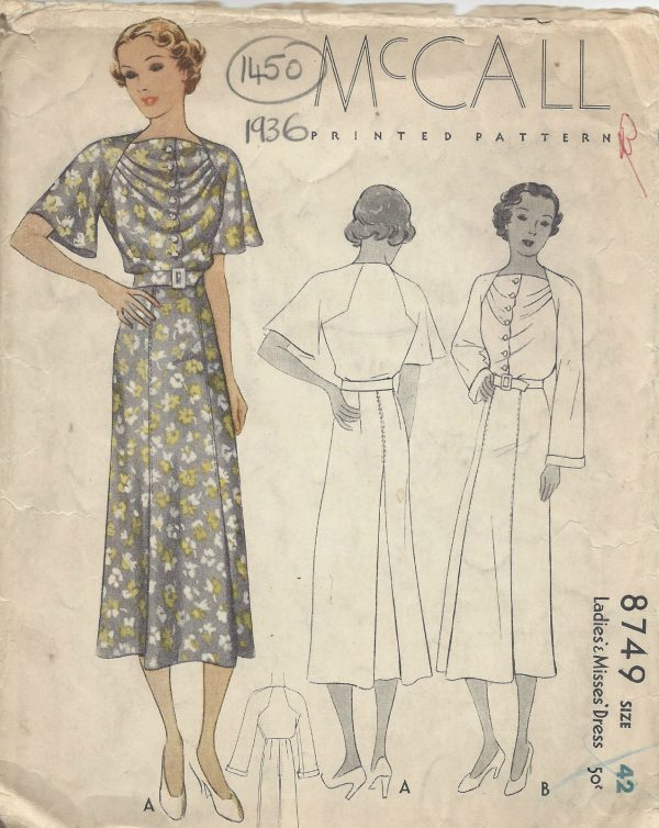 1936 Vintage Sewing Pattern B42 DRESS (1450) - The Vintage Pattern Shop