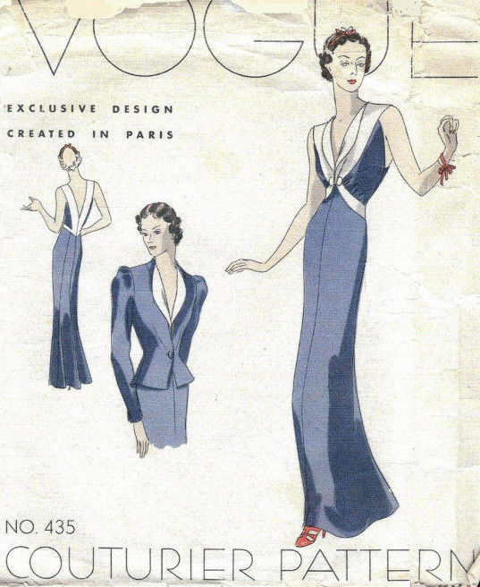 1939 VOGUE Vintage Sewing Pattern B34 EVENING DRESS & JACKET (1026R ...