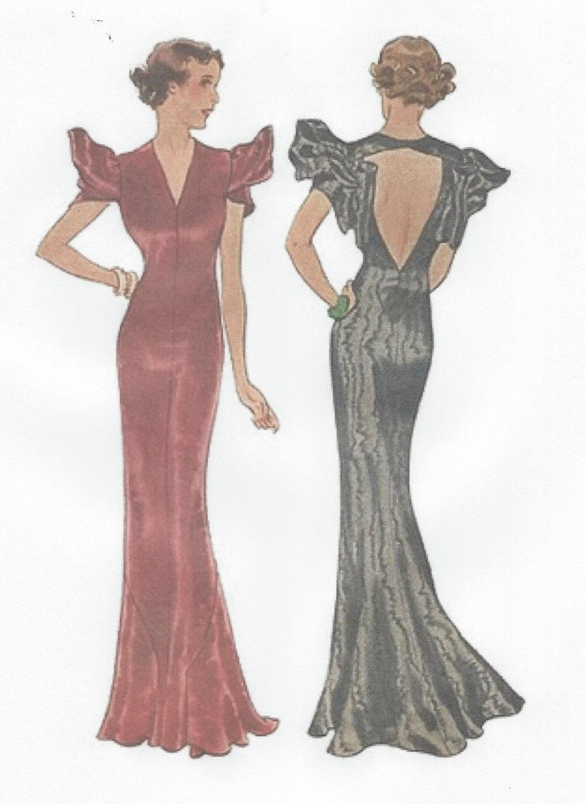 1939 vintage sewing pattern b36 evening dress  r955