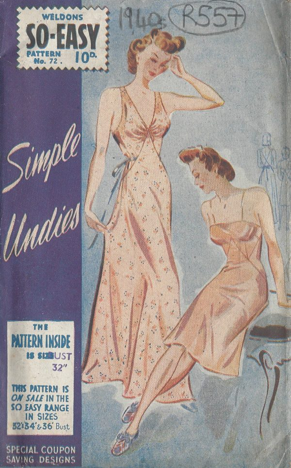 1940s-Vintage-Sewing-Pattern-B32-NIGHTDRESS-SLIP-R557-251150222464