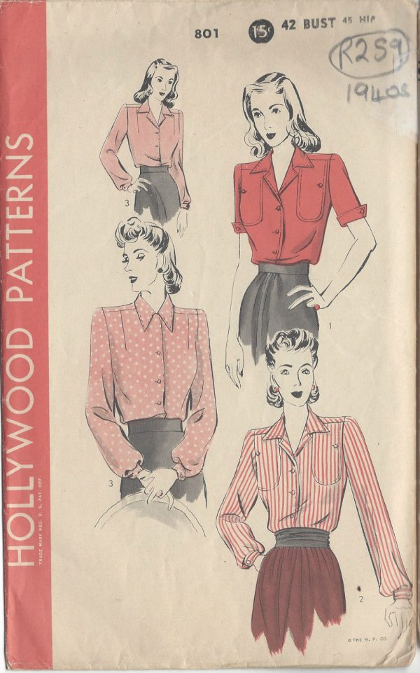 1940s-Vintage-Sewing-Pattern-B42-BLOUSE-R259-251143209234