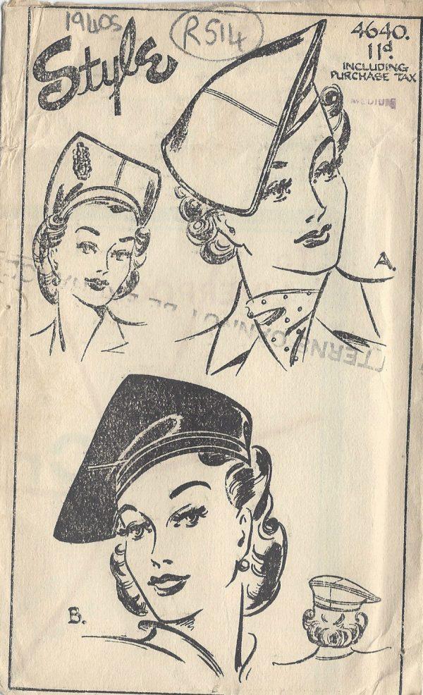 BERET /& BAGS R838 1944 Vintage Sewing Pattern S23 HAT