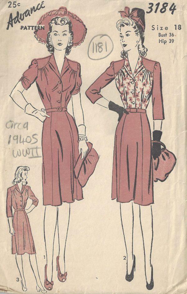 1940s WW11 Vintage Sewing Pattern DRESS B36\