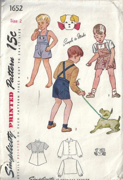 1945 WW2 Childrens Vintage Sewing Pattern S2 C21 BOY\'S PLAYSUIT ...