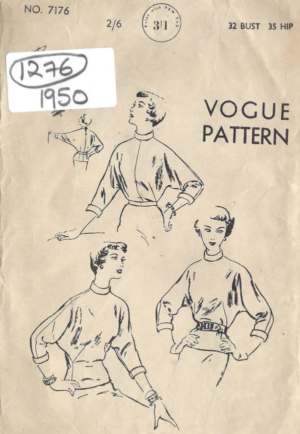 1950-Vintage-VOGUE-Sewing-Pattern-BLOUSE-B32-1276-251563934924