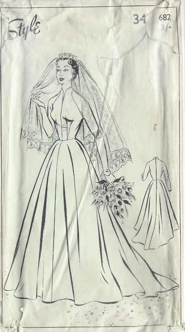 1950s Vintage Sewing Pattern B34in Wedding Dress 1022 By Style 682 The Vintage Pattern Shop