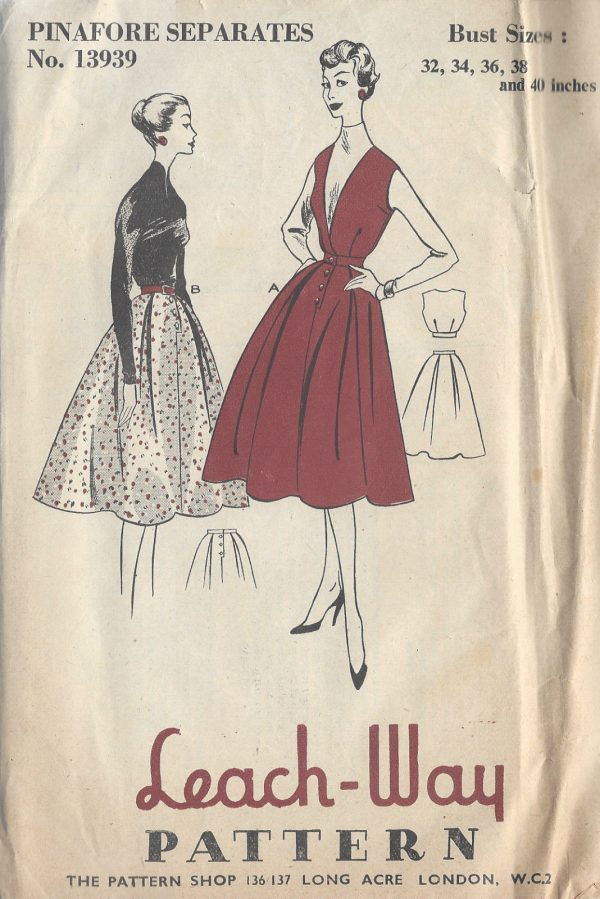 1950s Vintage Sewing Pattern B36-W28 SKIRT & TOP (R645) - The ...