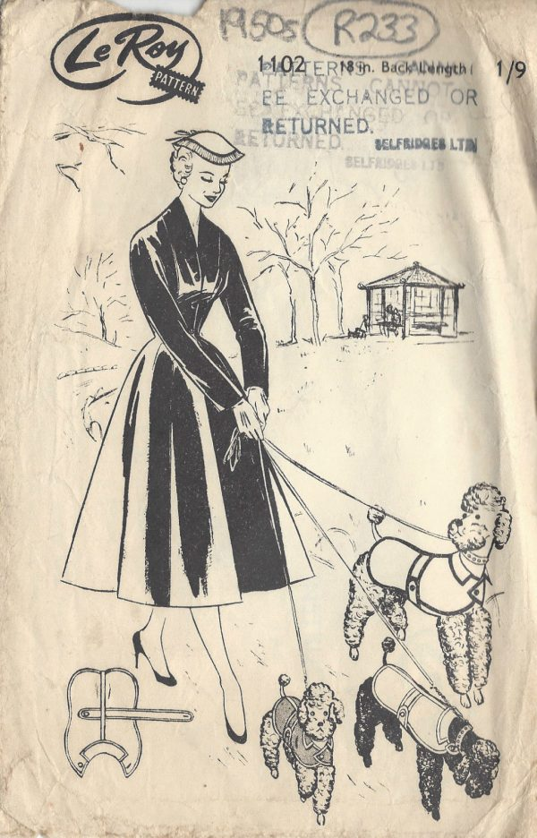 1950s-Vintage-Sewing-Pattern-DOG-JACKET-COLLAR-LENGTH18-R233-251164520114