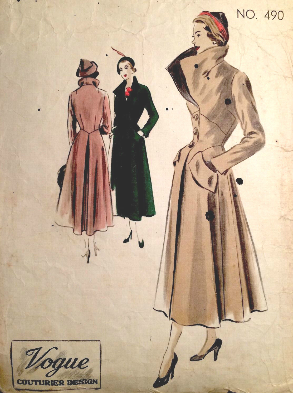 1950s Vintage Vogue Sewing Pattern Bust 38 Quot Coat 1387 By