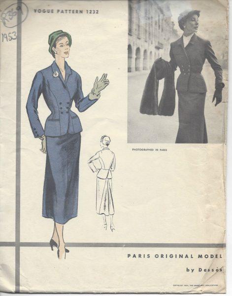 1952 Vintage VOGUE Sewing Pattern B34 DRESS /& JACKET 1187 By /'Desses/'