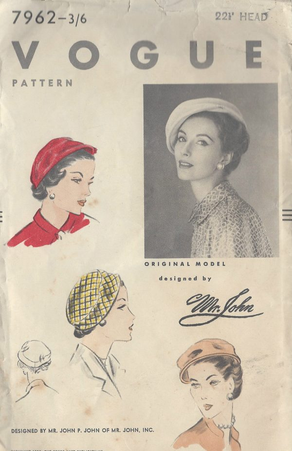 1953-Vintage-VOGUE-Sewing-Pattern-HAT-S22-12-R587-By-Mr-John-251144436974