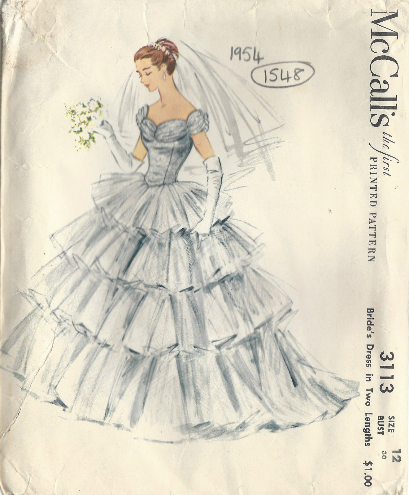1954 Vintage Sewing Pattern B30 Wedding Brides Dress 1549