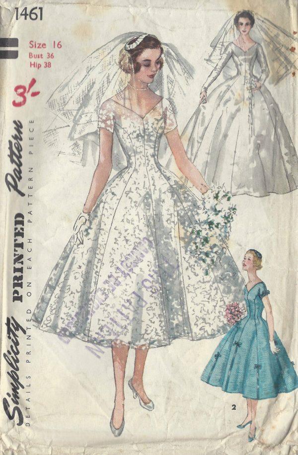 1955 Vintage Sewing Pattern B36 Bride Bridesmaid Dress Veil