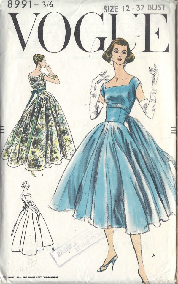 0f490919fa3 1956 Vintage VOGUE Sewing Pattern EVENING COCKTAIL DRESS B32