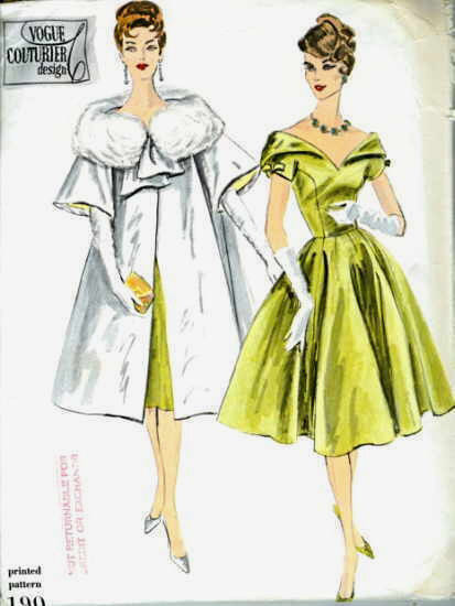 1959 Vintage VOGUE Sewing Pattern B36 ONE-PIECE DRESS & COAT (1767R ...