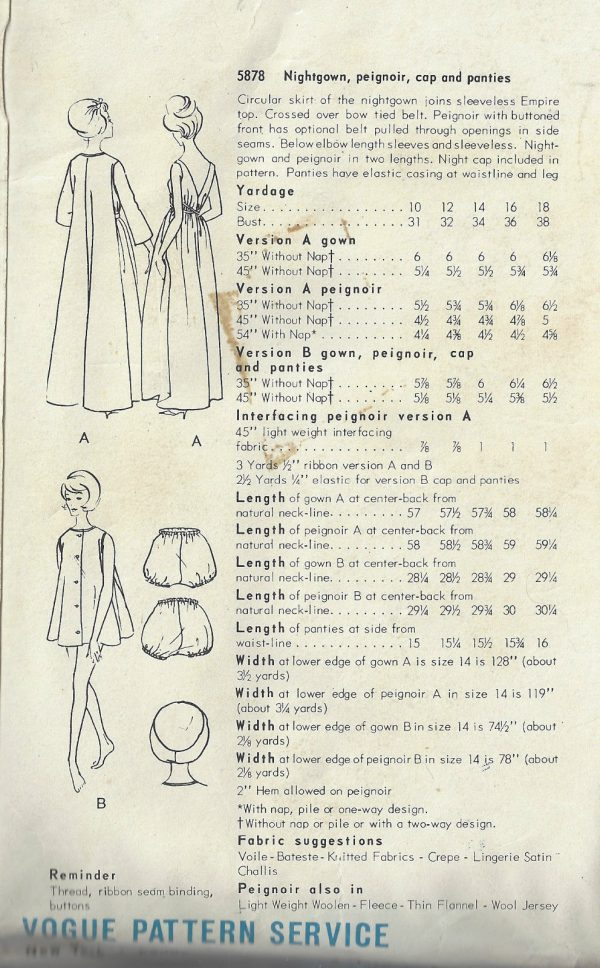 1960s-Vintage-VOGUE-Sewing-Pattern-B38-NIGHTGOWN-PEIGNOIR-CAP-PANTIES-1598-262352015824-2