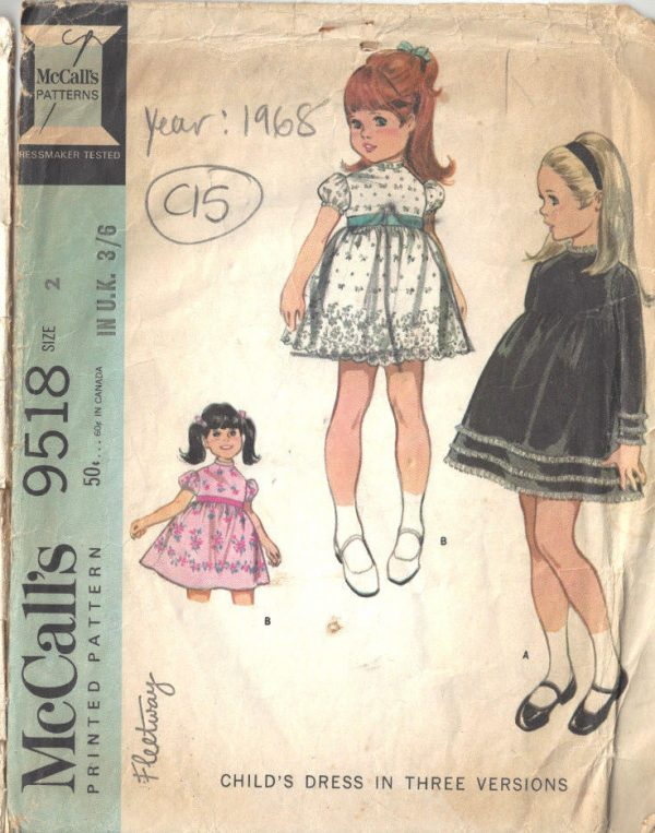 1968 Childrens Vintage Sewing Pattern S2 B21 DRESS (C15) - The ...