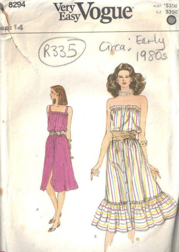 1980s-Vintage-VOGUE-Sewing-Pattern-DRESS-B36-R335-262557677334