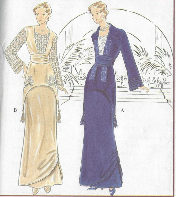 1900s Edwardian Vintage Sewing Pattern TWO-PIECE DRESS B34-36-38 ...