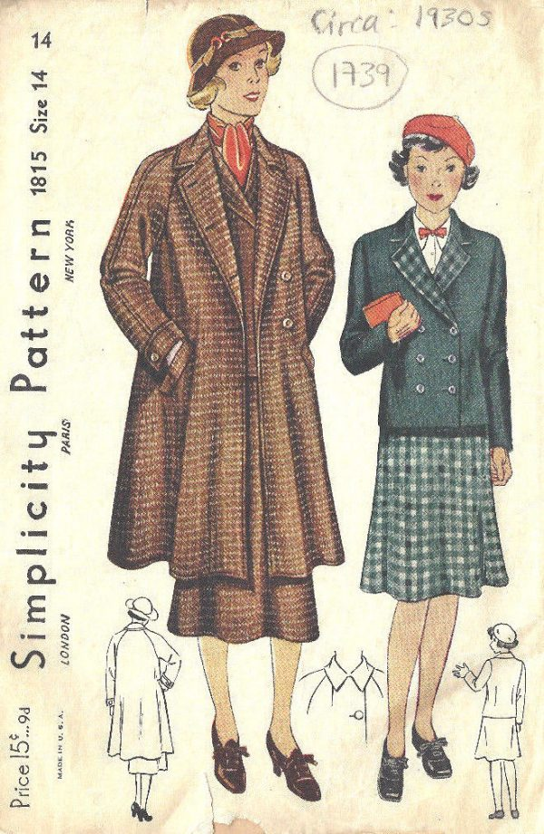 1930s Vintage Sewing Pattern B32 Suit Swagger Coat Jacket Skirt