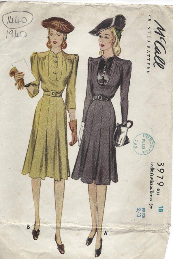 Sew Something Vintage 1940s Fashion: 1940 WW2 Vintage Sewing Pattern B36 DRESS (1440)