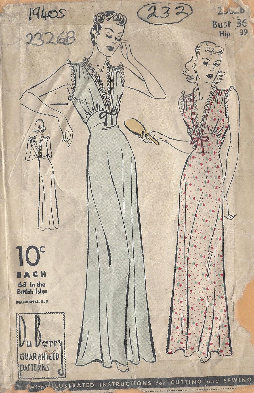 "1940s Vintage Sewing Pattern B36"" NIGHTDRESS-NEGLIGEE (232) - The Vintage  Pattern Shop"