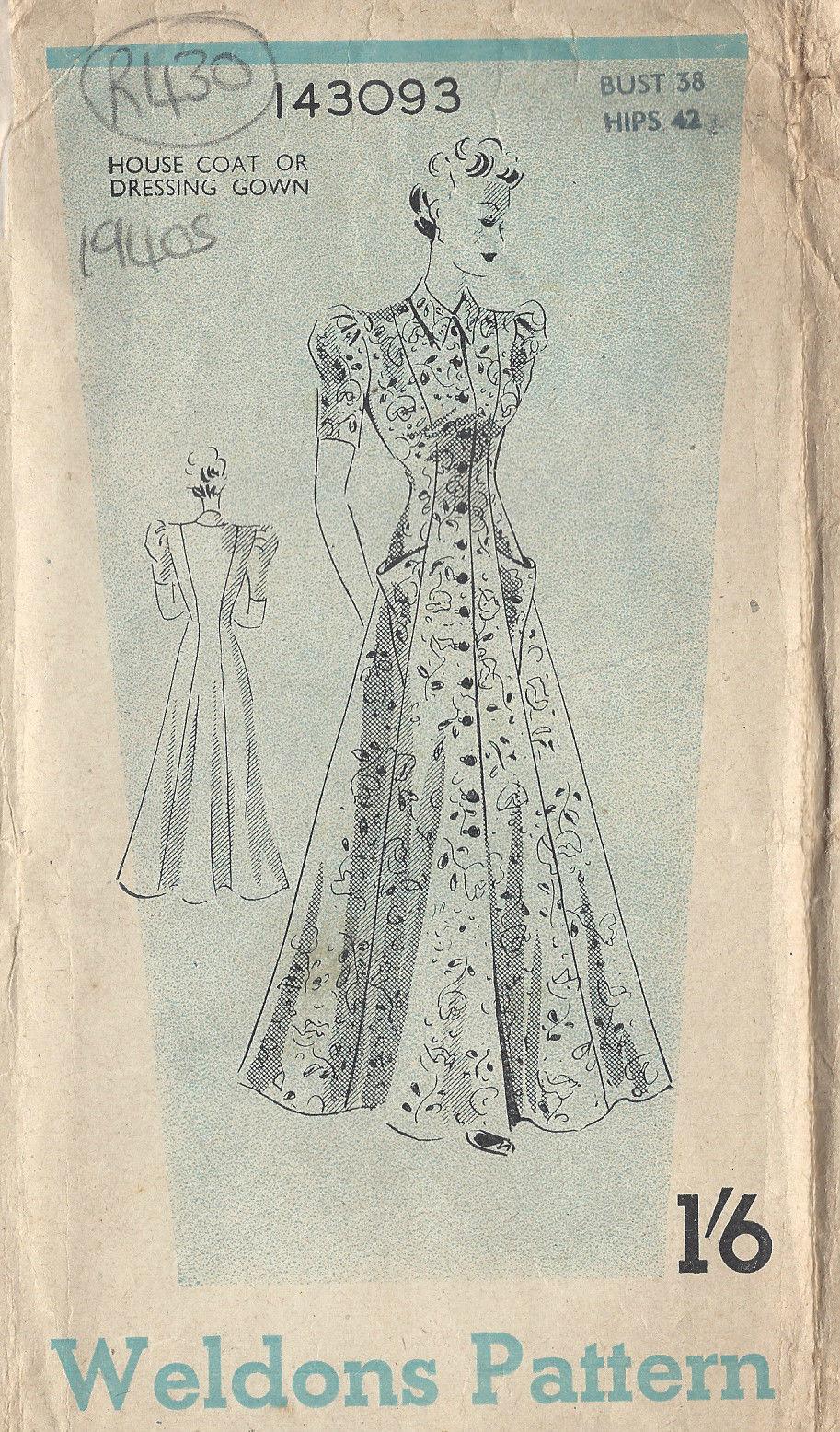 1940s WW2 Vintage Sewing Pattern B38\