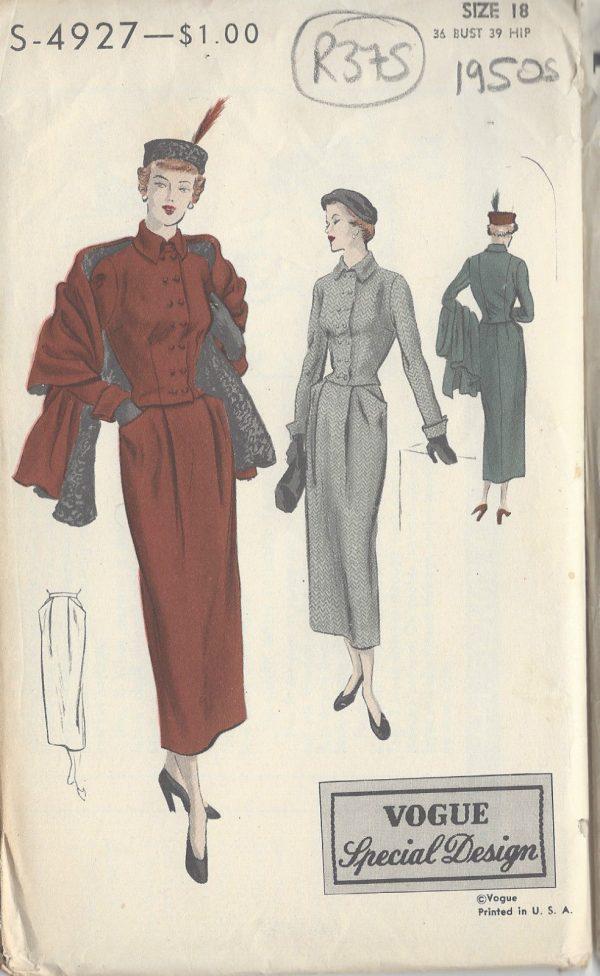 1940s Vintage Vogue Sewing Pattern B36 Quot Suit Jacket